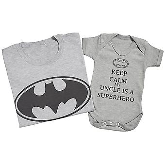 Keep Calm My Uncle Is A Superhero Matching Uncle Baby Gift Set Grey