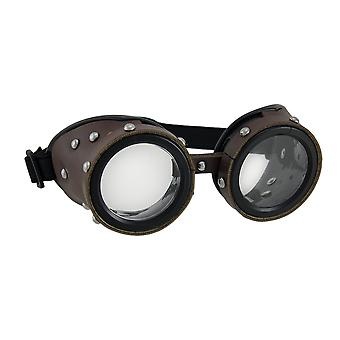 Studded Brown Low Profile Adult Steampunk Goggles