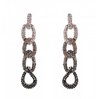 W.A.T Silver Style Sparkling Clear And Black Crystal Chain Fashion Earrings