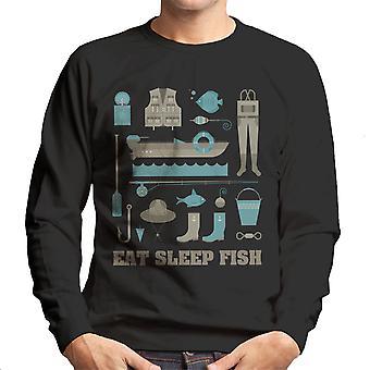 Essen Sie schlafen Fische Angeln Equiptment Herren Sweatshirt