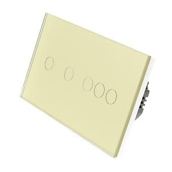 I LumoS Gold Glass Double Panel 5 Gang 1 Way WIFI/4G Remote Touch LED Light Switch