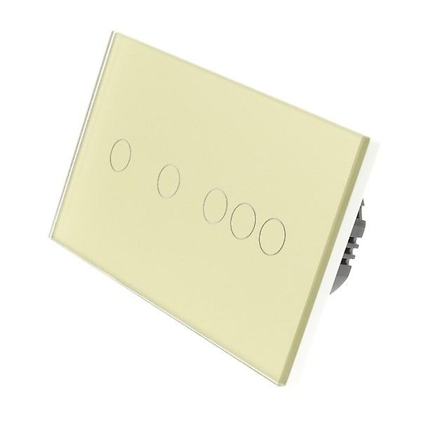 I LumoS or Glass Double Panel 5 Gang 1 Way Touch LED lumière Switch