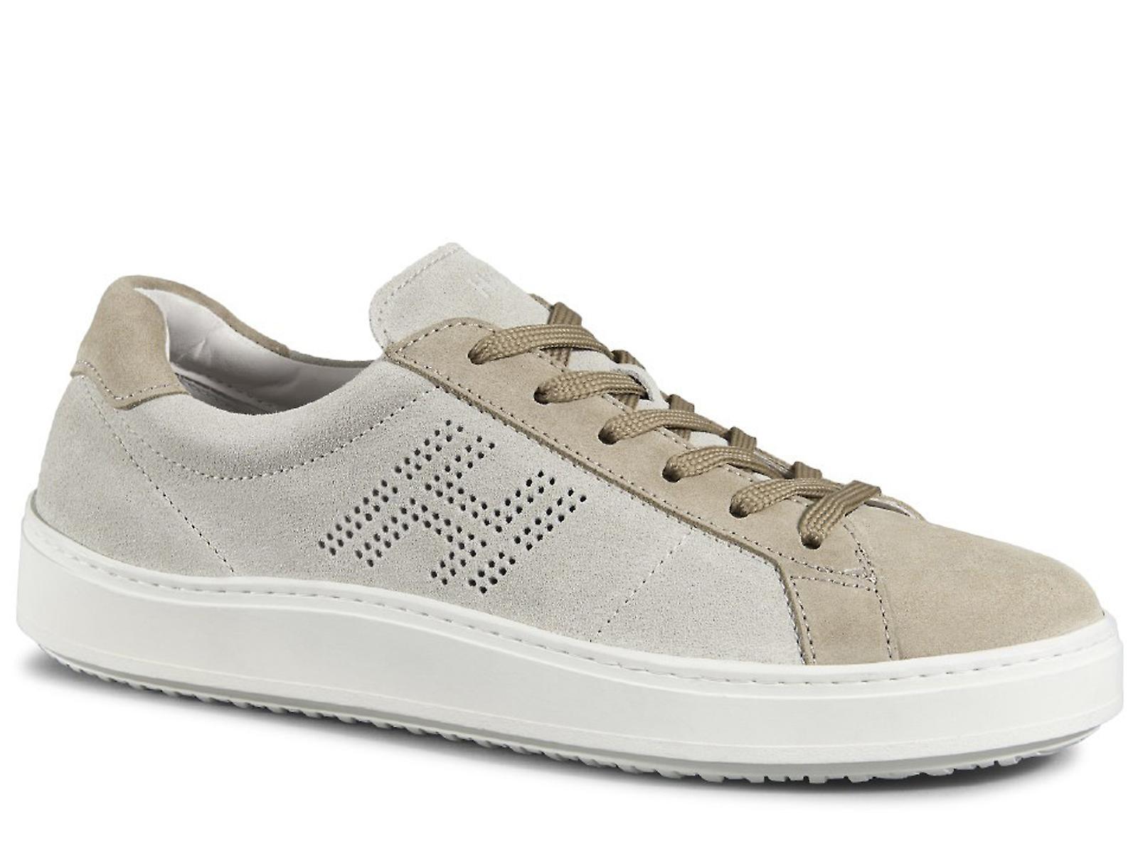 Hogan H302 men's sneakers shoes in beige suede leather