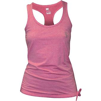 Bad Girl Side Tie Racerback Fitness Tank Top - Pink Marl