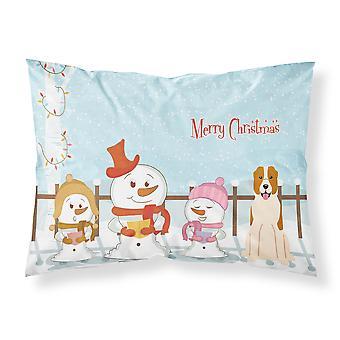 Merry Christmas Carolers Central Asian Shepherd Dog Fabric Standard Pillowcase