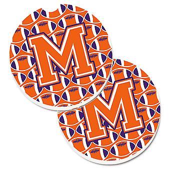 Letter M Football Orange, White and Regalia Set of 2 Cup Holder Car Coasters