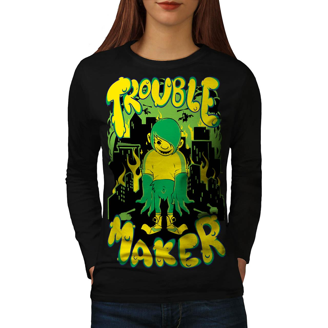 Trouble Maker Art Fashion Women Black Long Sleeve T-shirt | Wellcoda