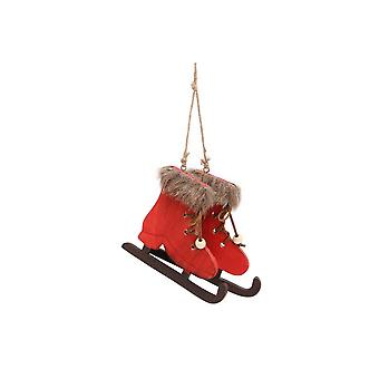 CGB Giftware Christmas Fluffy Ice Skate Hanging Decoration