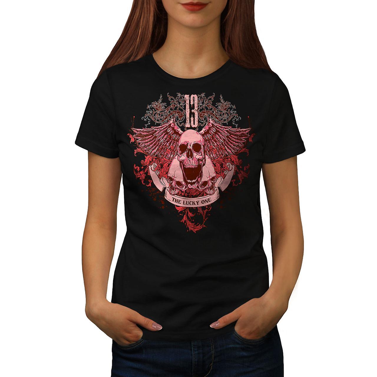 13 The Lucky One Skull Women Black T-shirt | Wellcoda