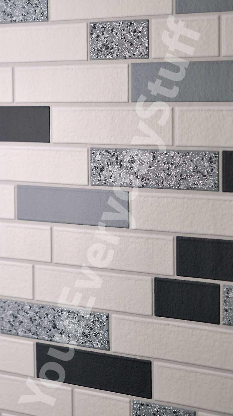 Holden Decor Granite Glitter Black White Silver Oblong Tiles Bricks Wallpaper