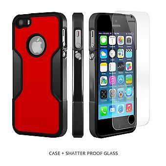 SaharaCase caso del iPhone 5s/SE/5 Classic, paquete de Kit de protección con vidrio templado de ZeroDamage - rojo