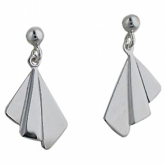 Silver 21x11mm plain Fan Earring droppers