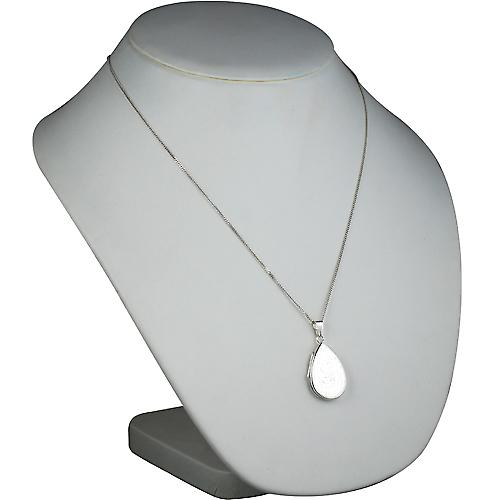 Silver 28x19mm engraved flat teardrop Locket with a curb Chain 22 inches