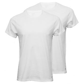 Calvin Klein 2-Pack puro algodón cuello redondo camisetas, blanco