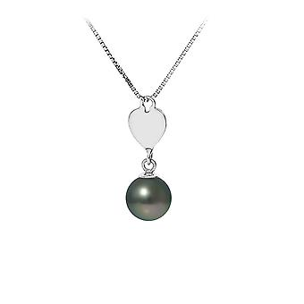 Heart Pearl of Tahiti and chain in 925 sterling silver pendant necklace