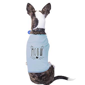 ニャー綿ペット シャツ スカイブルー小型犬服