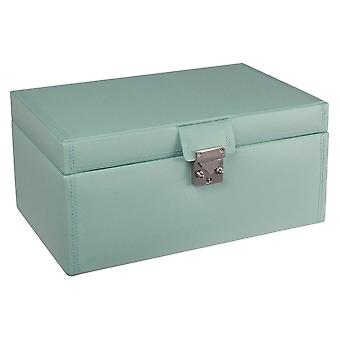 Leather Duck Egg Blue Large Jewellery Box
