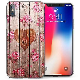 iPhone X старинных сердце природного Роуз печати гель ТПУ