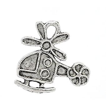 Packet 10 x Antique Silver Tibetan 19mm Helicopter Charm/Pendant ZX03800