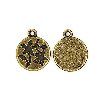 Packet 20 x Steampunk Antique Bronze Tibetan 18mm Flower Charm/Pendant ZX16570