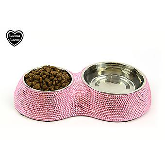 VALENTINA VALENTTI CAT DOG PET FEEDER CRYSTALLISED DOUBLE PET FOOD BOWL PINK S