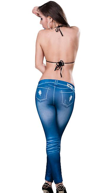 Waooh - Mode - Leggings long style denim usé