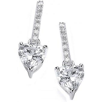 Cavendish French Sparkly Heart Drop Earrings - Silver