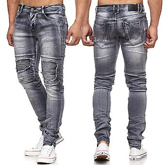Men's Jeans Ripped Destroyed Holes Cracks Stone Washed Biker Slim Fit Color Blobs