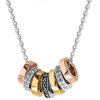 IBB London Marcasite Lucky Rings Cubic Zirconia Necklace - Gold/Silver/Rose Gold