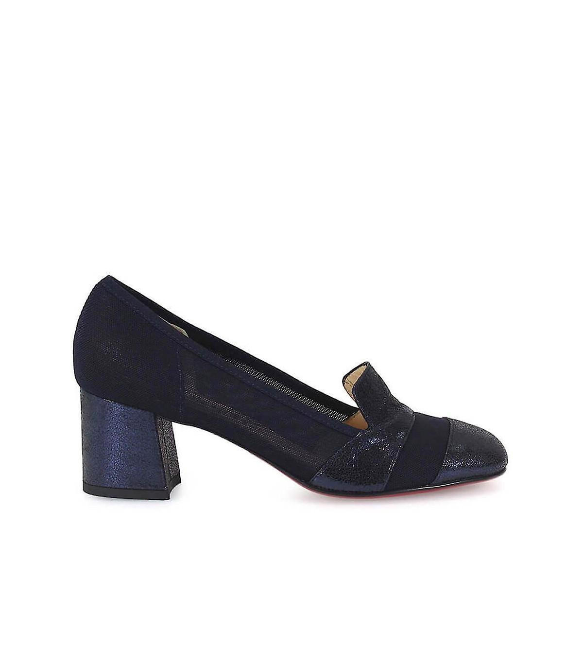 FRANCO COLLI DARK BLUE HEELED LOAFERS
