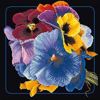Pansies On Aida Counted Cross Stitch Kit-13.25
