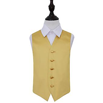 Gold Plain Satin Wedding Waistcoat for Boys