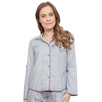 Cyberjammies 3772 Women's Sienna Grey Leaf Print Pajama Pyjama Top