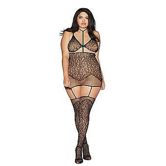 Sexy Plus Size Swirl Pattern Fishnet Hosiery Garter Dress Bodystocking