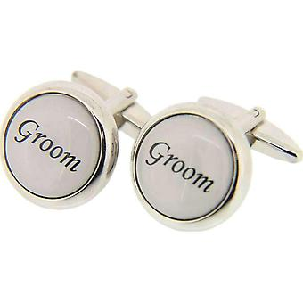 David Van Hagen Groom Cufflinks - Silver/White
