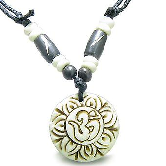 Amulet Original Tibetan Magic OM Symbol Lotus Flower Carved White Lucky Charm Pendant Necklace
