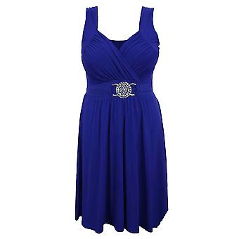 Ladies Tie Back Buckle Waisted Sleeveless Evening Flare Cocktail Women's Dress