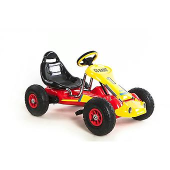 RideonToys4u Pedal Go Kart With Rubber Air Wheels Red/Yellow
