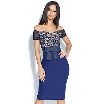 Jessie Geo Lace Bow Bardot Dress