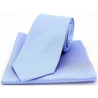 David Van Hagen Pin Dot krawat i placu kieszeni zestaw - Sky Blue/Pink