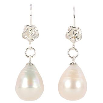 Pearl Aurora Drop Freshwater Pearl Hook Earrings - White