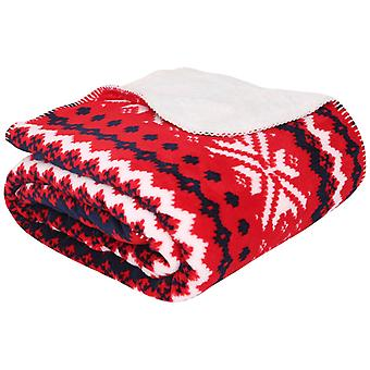 Christmas Cosy Red Sherpa Fair Isle Super Soft Blanket Sofa Throw 150 x 180cm