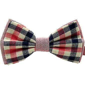 Red & Navy Blue Check Vintage Style Bow Tie