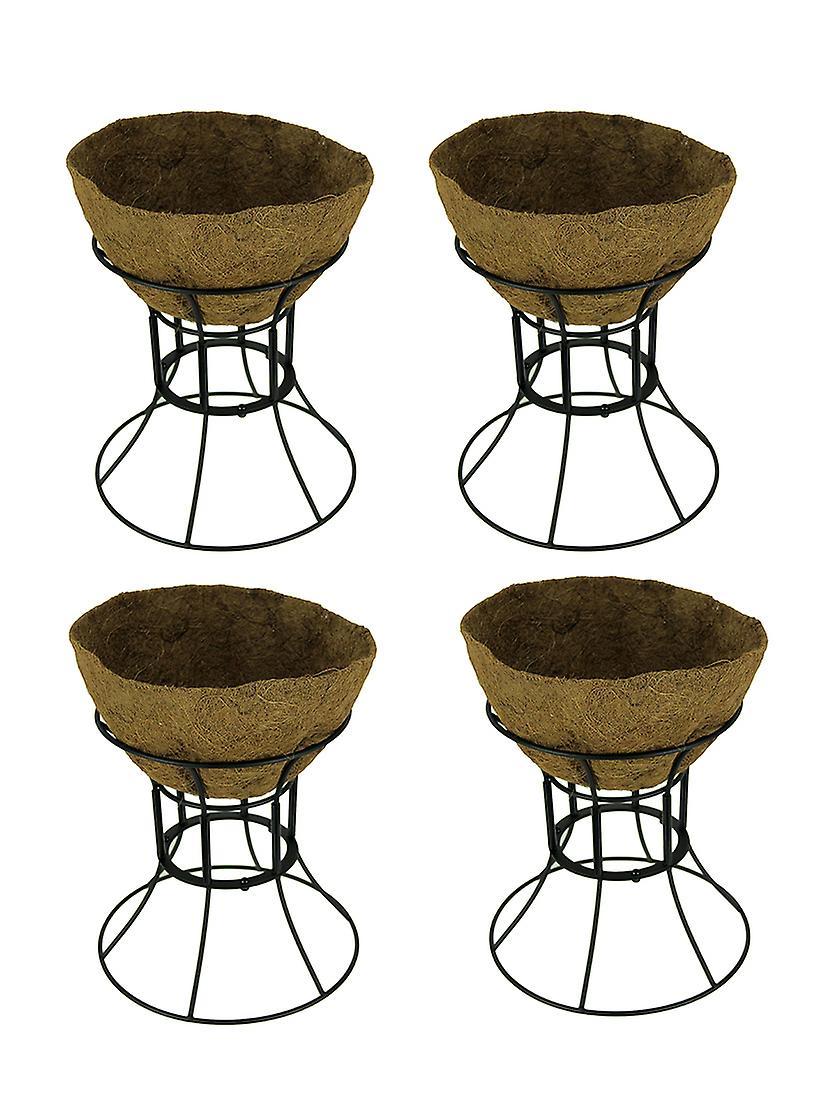 Plastec Black Hose Guide Plant Stand with Coir Liner Set of 4