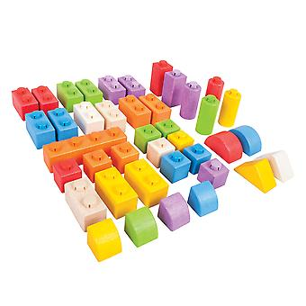 Bigjigs Toys Wooden Click Blocks (Intermediate Pack) Stacking Blocks