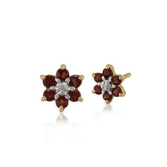 9ct Yellow Gold 0.39ct Garnet & Diamond Cluster Stud Earrings