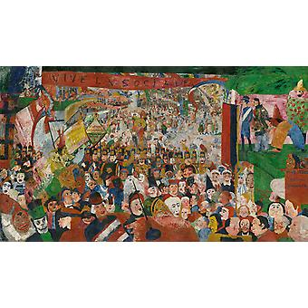 The Entry of Christ into Brussels in 1889, James Ensor, 60x34cm