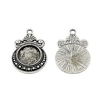 Pakke 10 x antikke tibetanske sølvmønt Cabochon indstillinger 19 x 28mm HA12935