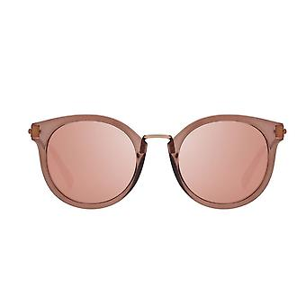 Le Specs Last Dance Mocha Round Sunglasses