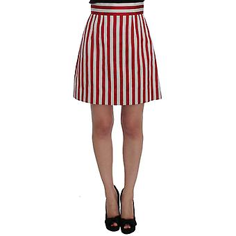Dolce & Gabbana Silver Red Striped Above Knees Skirt -- SIG3904709